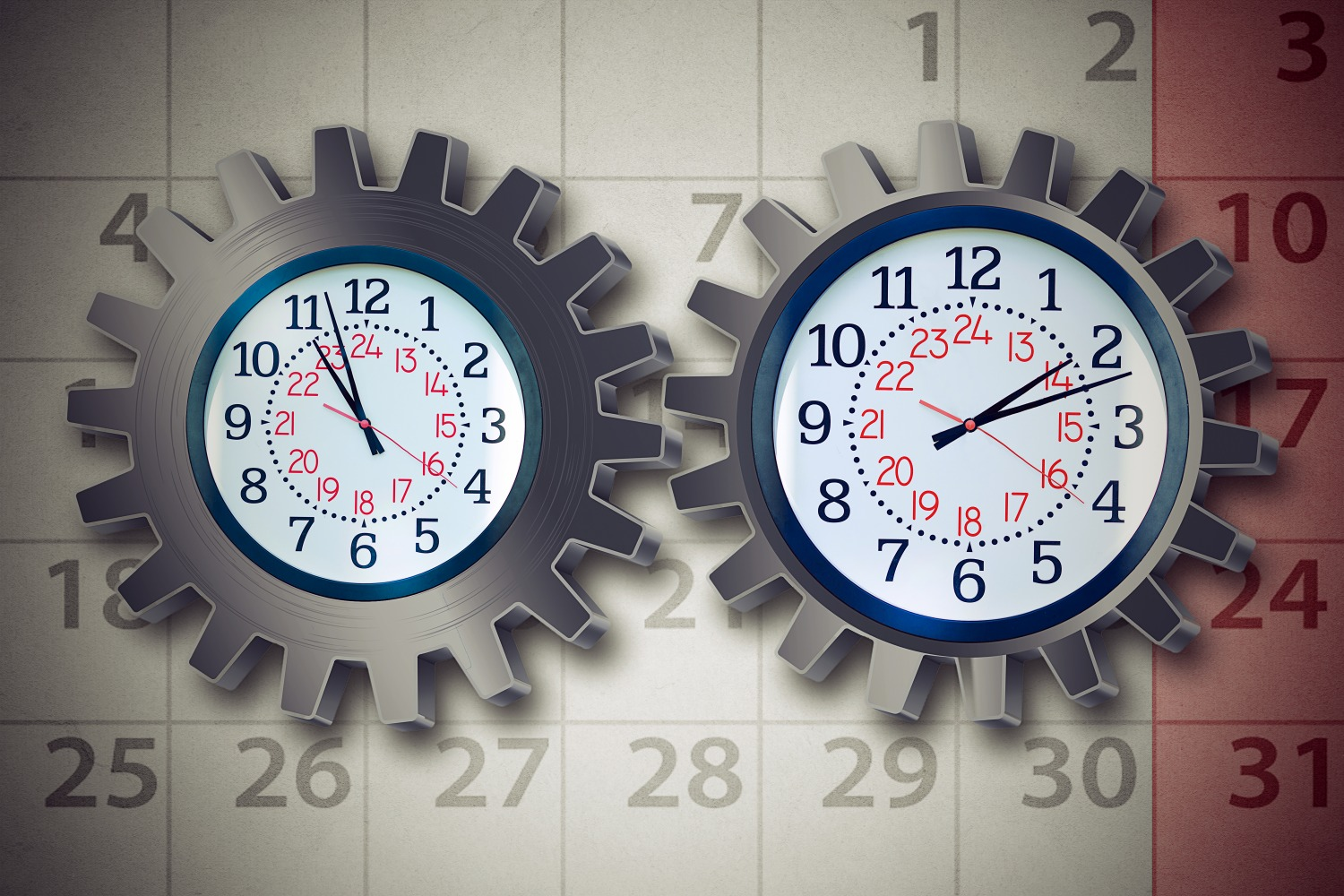 clocks depicting start and end of shift for time and attendance